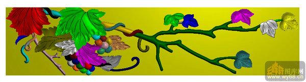 葡萄 藤叶-雕刻图案