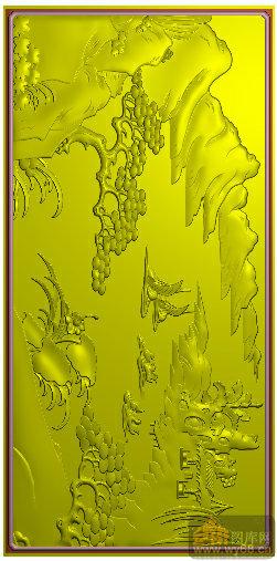 山水 船 松树 写字台201-浮雕图库