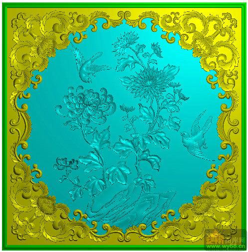 菊花 花鸟-浮雕雕刻图案