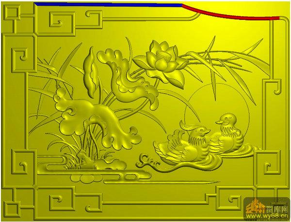 荷花 鸳鸯小板 回纹边-精雕雕刻图