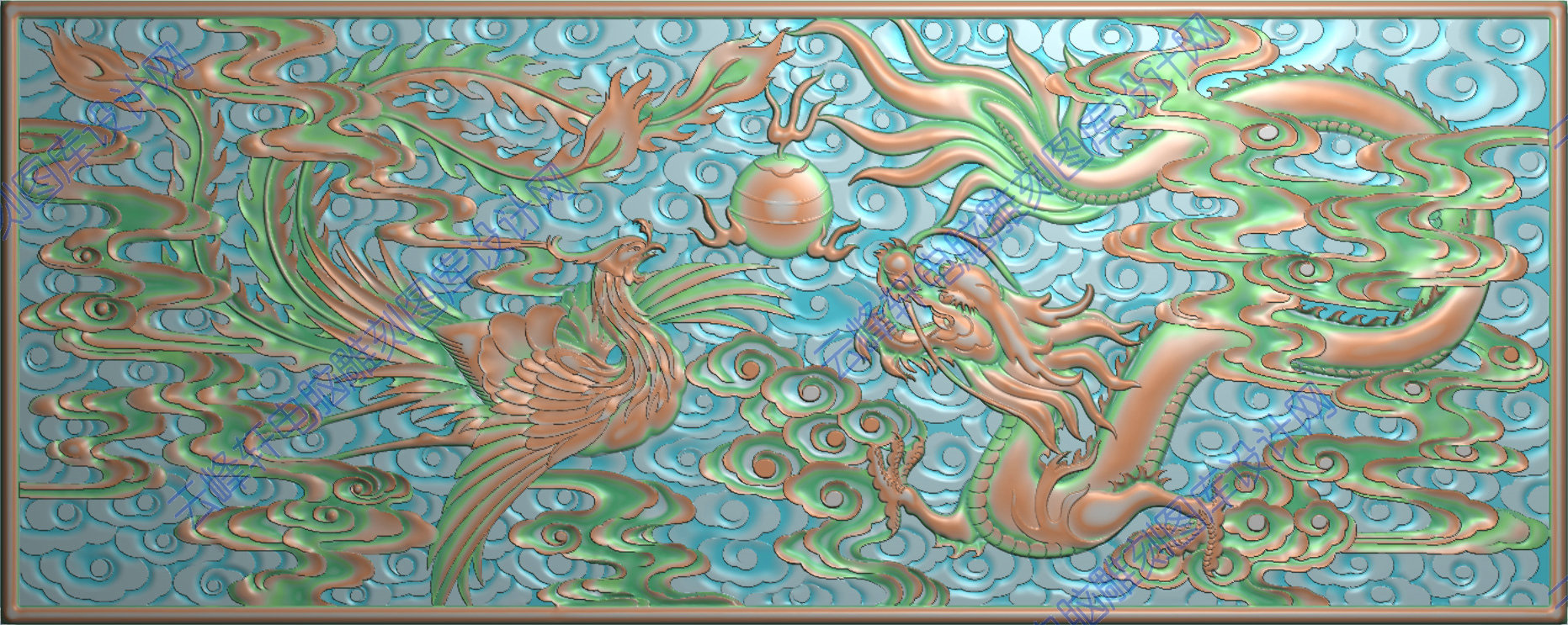 木雕浮雕凤凰图案
