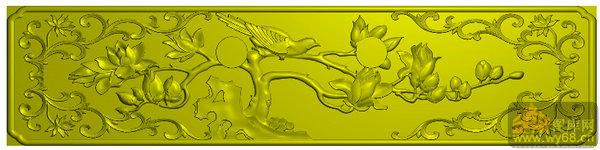 玉兰 花鸟-雕刻图案