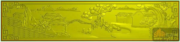 山水风景 船 柳树背板-雕刻图库