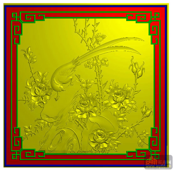 月季花鸟 回纹边 雕刻素材 云峰轩雕刻图库网