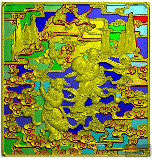 人物板 童子 荷花 寿桃 祥云 仙鹤-浮雕雕刻图案