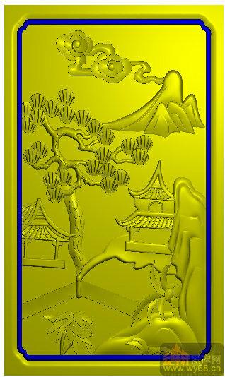 山水侧 凉亭 松树-精雕图案图库