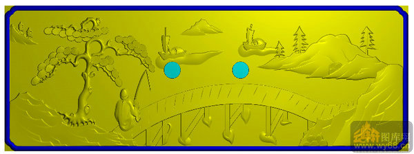 山水人物抽斗板 松树 垂钓-精雕雕刻图