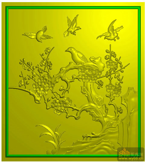 梅花 鸟-精雕图案图库-精雕图,jpd图,浮雕图,云峰轩