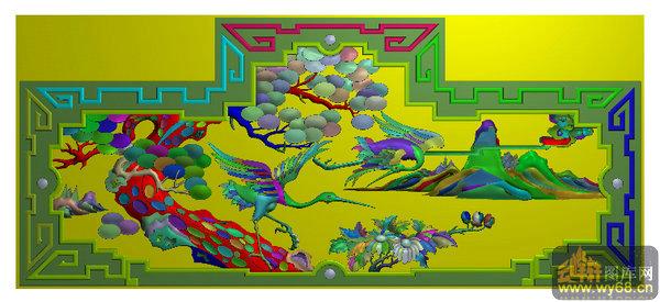 床头板松鹤-浮雕图库