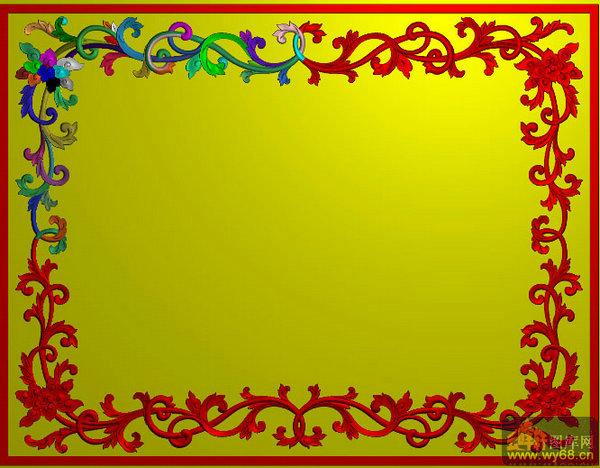 花藤边框 洋花床双鹤-家具雕刻素材