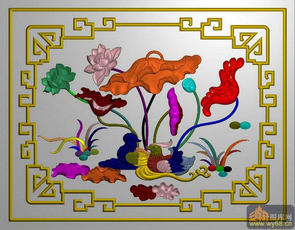边框 荷花 鸳鸯戏水-精雕图案