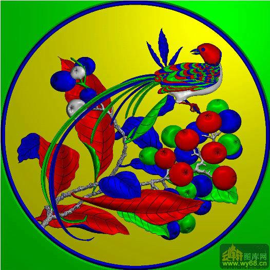 圆花鸟-雕刻素材