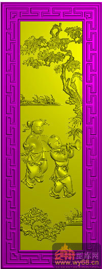 唢呐 童子 松树 中背板3-北京精雕图库