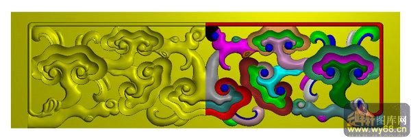 灵芝花纹 案子侧面小板-家具雕刻素材