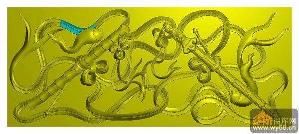 宝剑 笛子 八宝之四-电脑雕刻素材