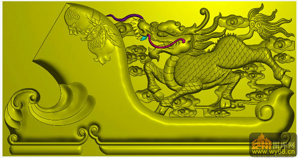 蝙蝠 铜钱 祥云 绶带 如意花纹 靠头(中)-雕刻素材   文件名称: 麒麟