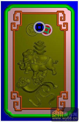 大象 元宝 铜钱 如意 回纹边-家具雕刻素材