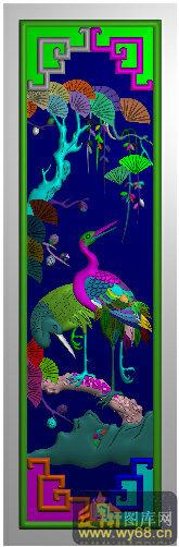 松树 仙鹤-精雕图案