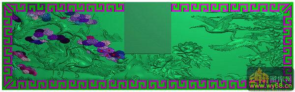 仙鹤 松树 牡丹花-浮雕图库