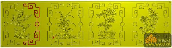 梅兰菊竹 回纹边-精雕雕刻图