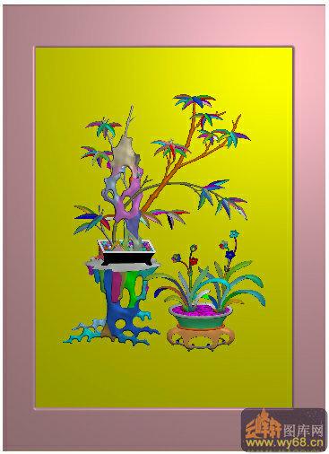 四门顶箱衣柜竹子 兰花-雕刻素材