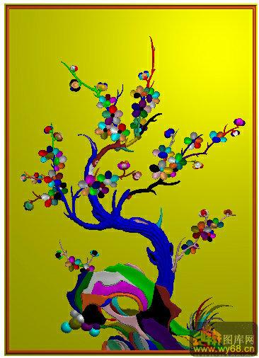 四季花 梅花-浮雕雕刻图案