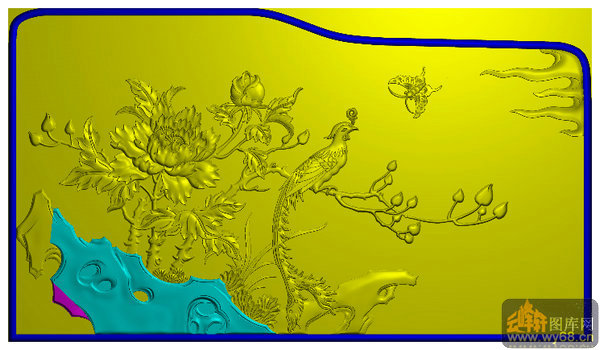 山水牡丹床头柜屏板-精雕图库