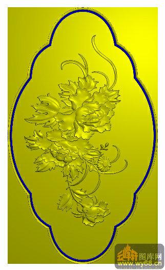 牡丹花-雕刻图案 - 云峰轩雕刻图库网
