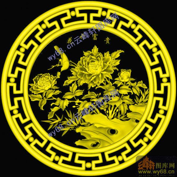 牡丹花鸟挂匾图-明清家具精雕图案