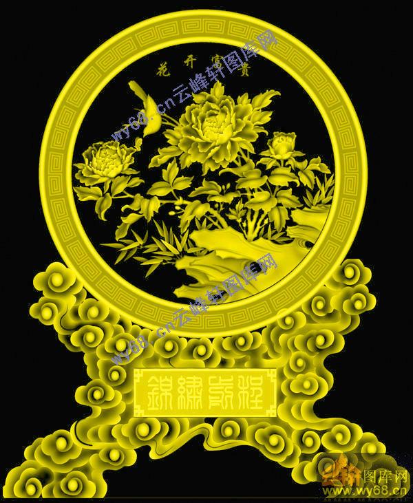 花开富贵台屏-明清家具雕刻素材 - 云峰轩雕刻图库网