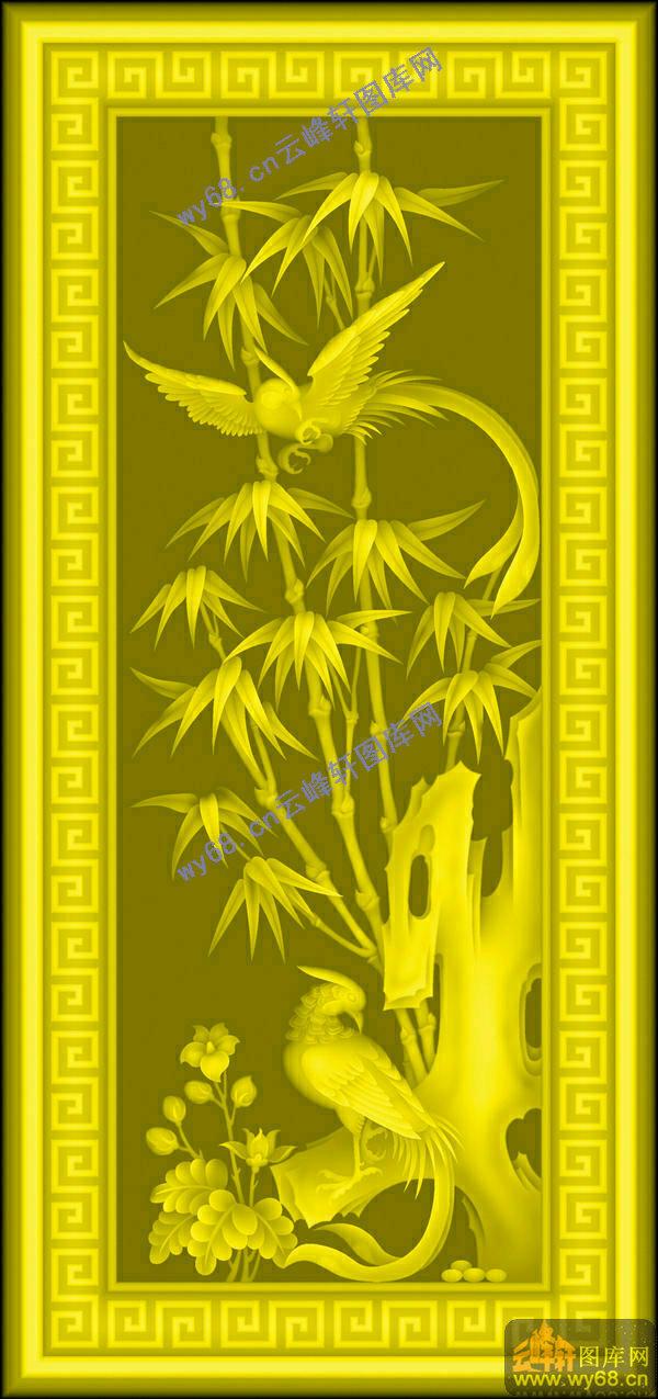 竹子鸟-中式图案浮雕图库