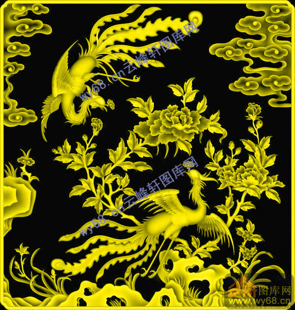 牡丹凤凰-浮雕雕刻图案