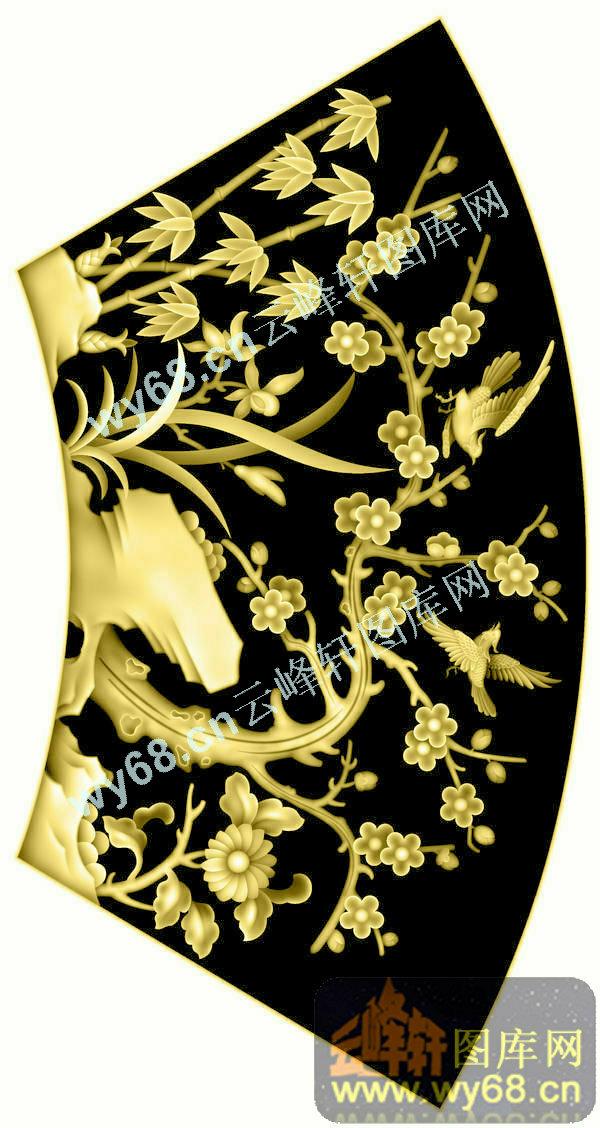 精品花鸟,精雕图,浮雕刻图案                        牡丹花鸟-高清
