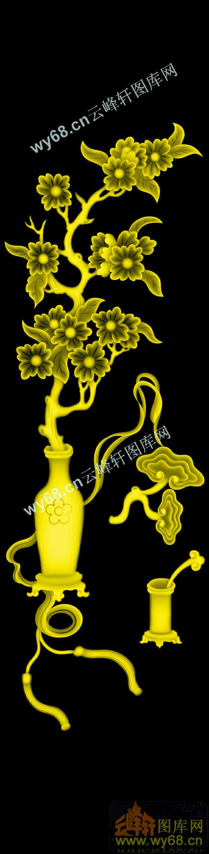 梅花灵芝花瓶-浮雕雕刻图案