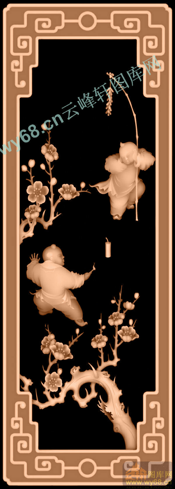梅花童子-花鸟精雕图案-精雕图,jpd图,浮雕图,云峰轩