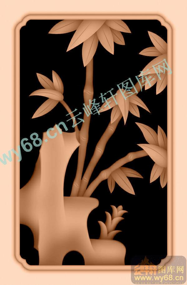 竹子背板-浮雕雕刻图案