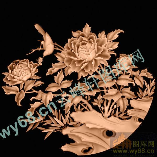 花鸟牡丹-浮雕雕刻图案
