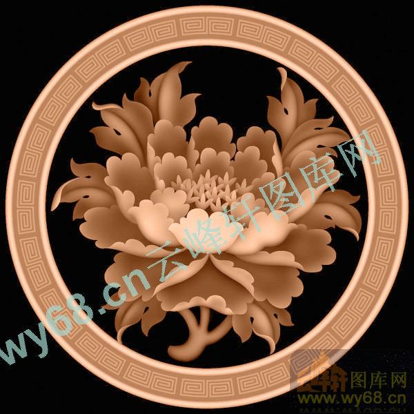 牡丹回字纹-花鸟雕刻素材