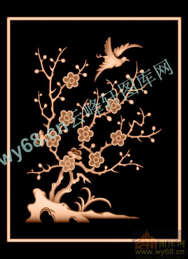 梅花鸟明式转角书柜-花鸟雕刻素材