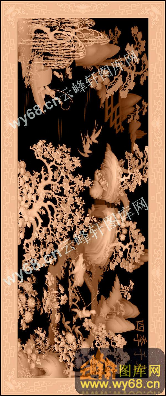 花鸟山水草木 浮雕雕刻图案