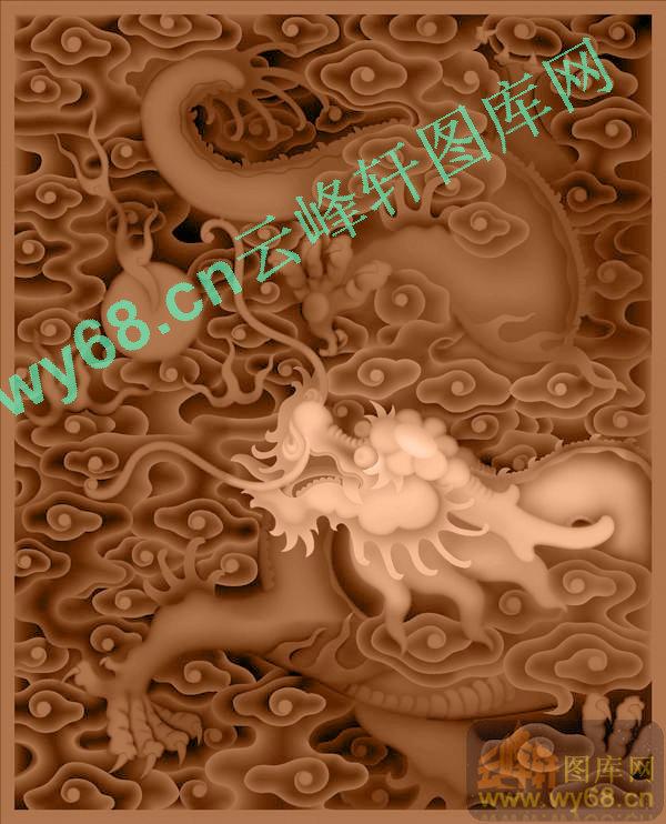龙柜小门-龙凤麒麟蝙蝠雕刻图
