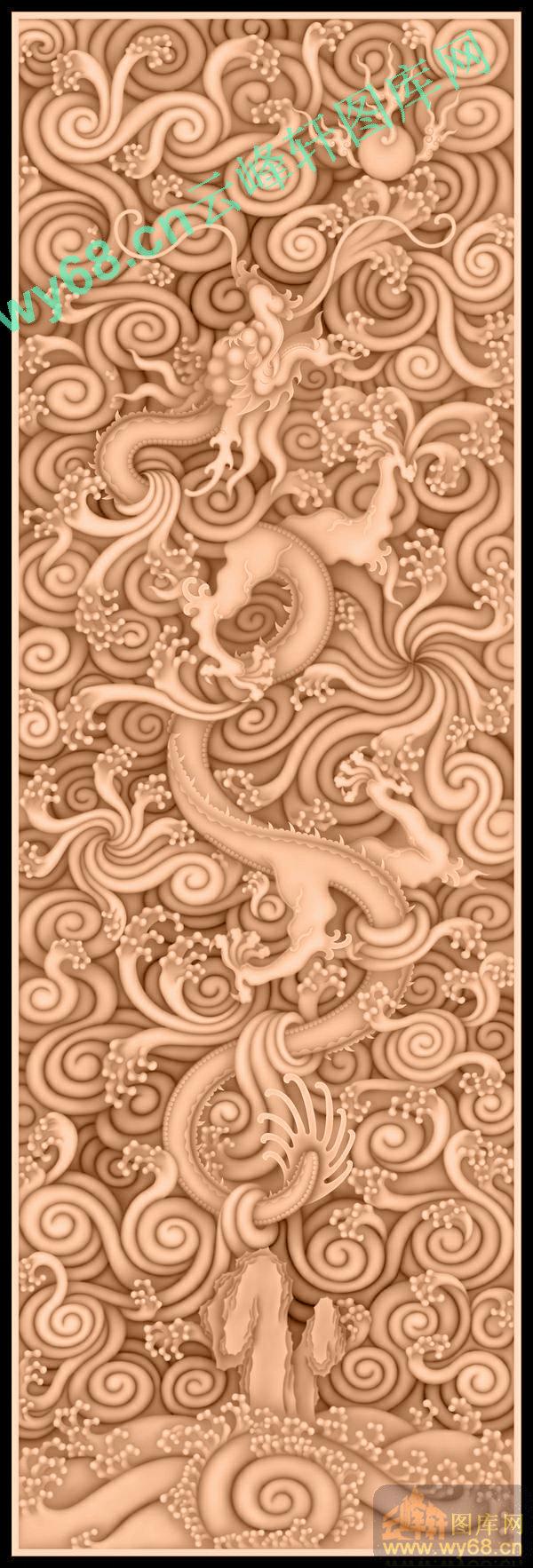 水龙顶箱柜板-龙凤麒麟蝙蝠雕刻素材