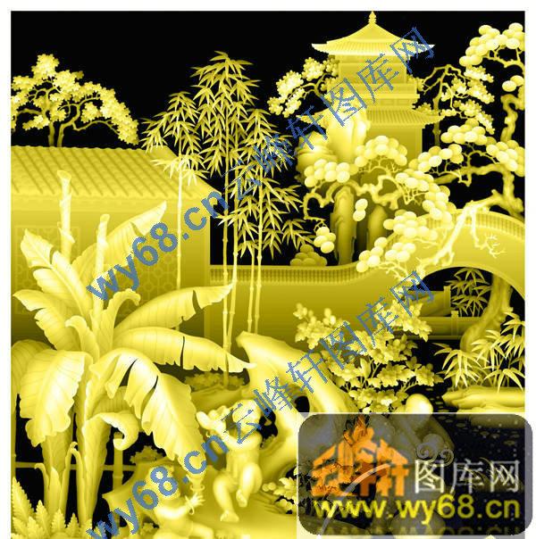童子庭院草木 浮雕雕刻图案 云峰轩雕刻图库网