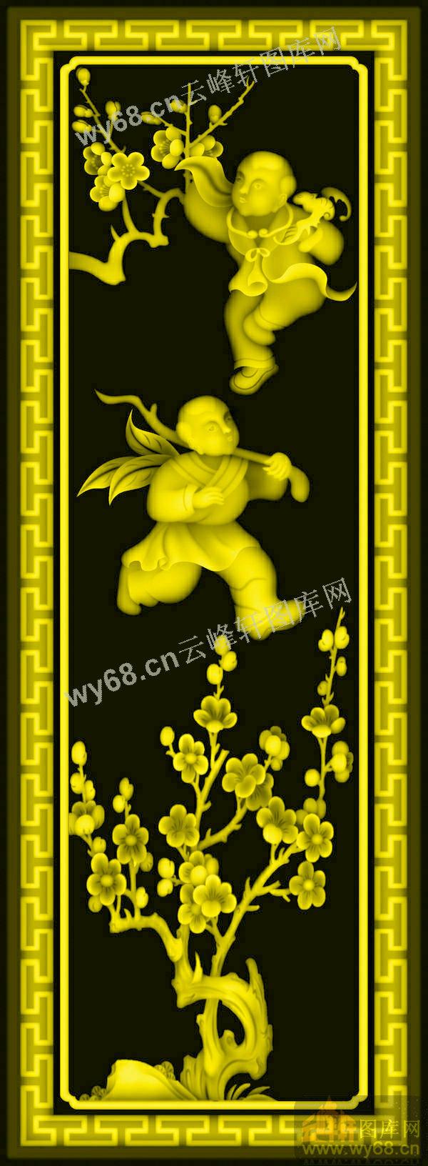 童子梅花背板-浮雕雕刻图案