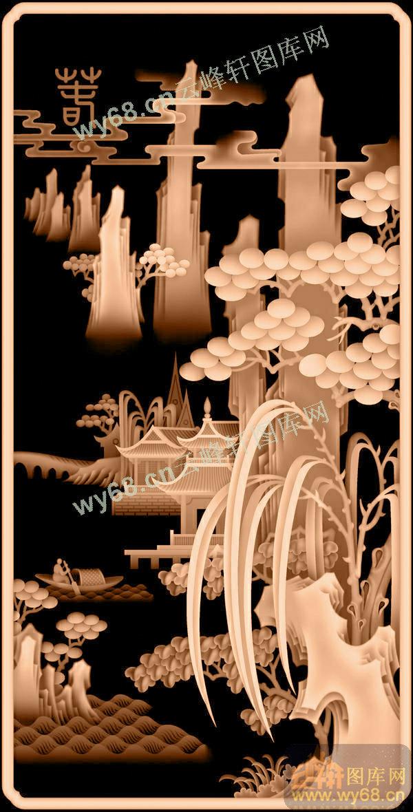 松树木雕屏风图片