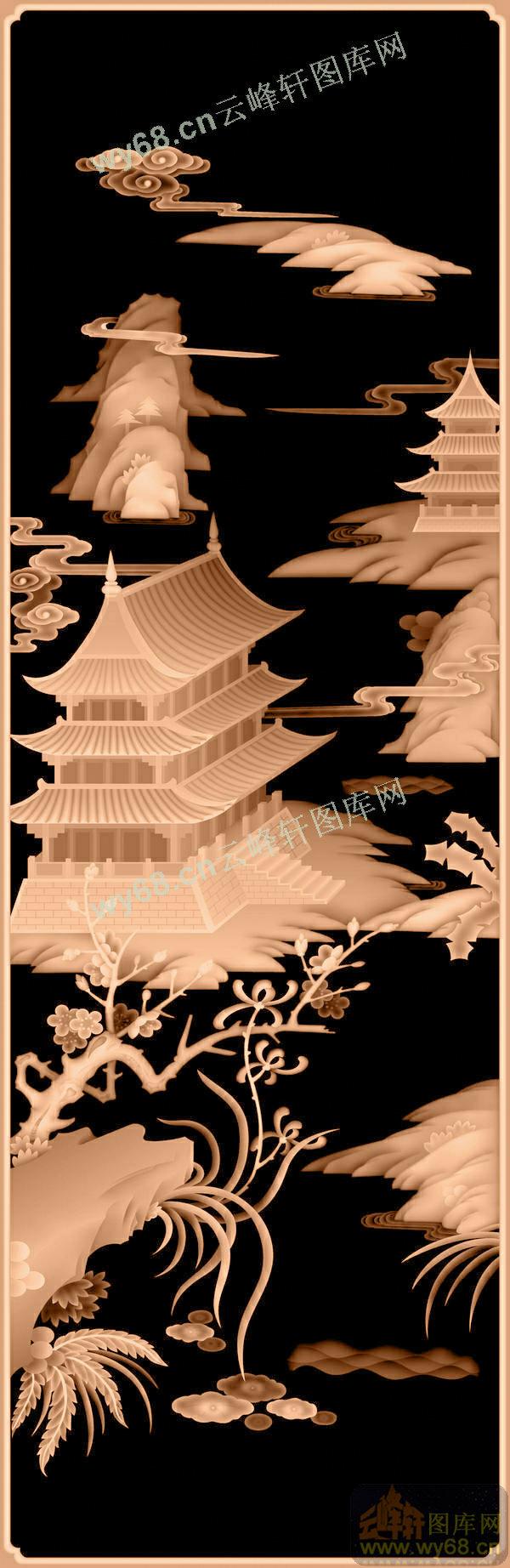 楼阁山水门板-亭台山水楼阁风景精雕图案
