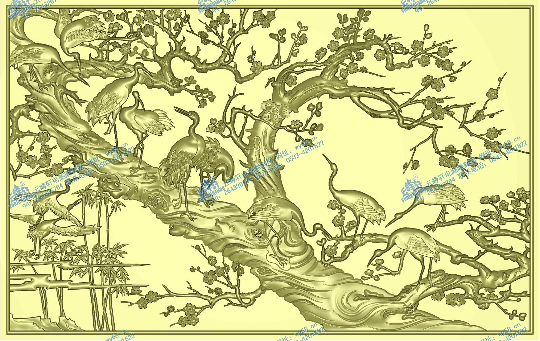 梅鹤图1-精雕图,jpd图,浮雕图,木雕,家具,玉雕图云峰