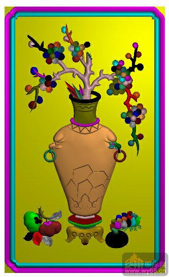 花瓶 梅花-精雕图案