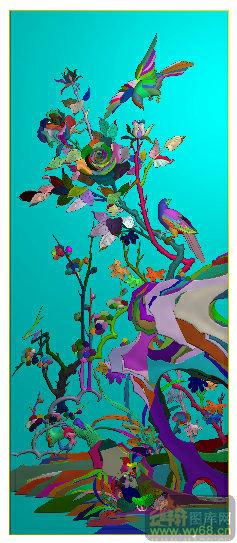 花鸟牡丹 浮雕雕刻图案