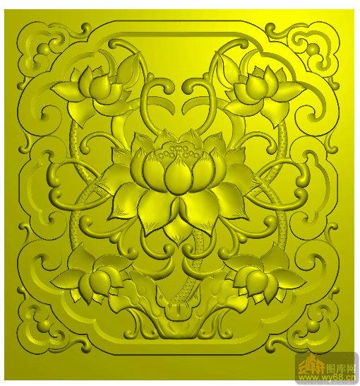 木雕窗荷花-雕刻图库
